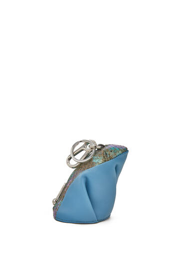 LOEWE Frog Charm In Calfskin And Snakeskin Dusty Blue pdp_rd