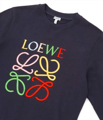 LOEWE Anagram Sweatshirt Navy Blue/Multicolor front