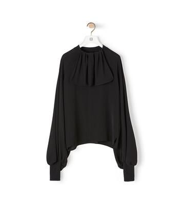 LOEWE Lavaliere Rib Collar Top Black front
