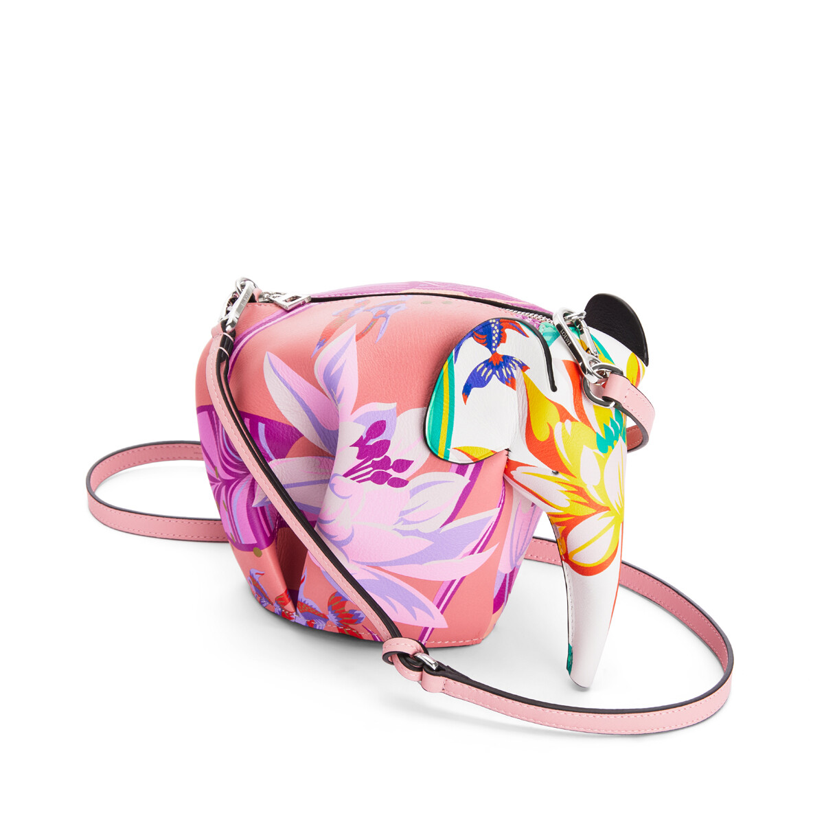 LOEWE Mini Elephant Bag In Waterlily Classic Calfskin Pink/White front