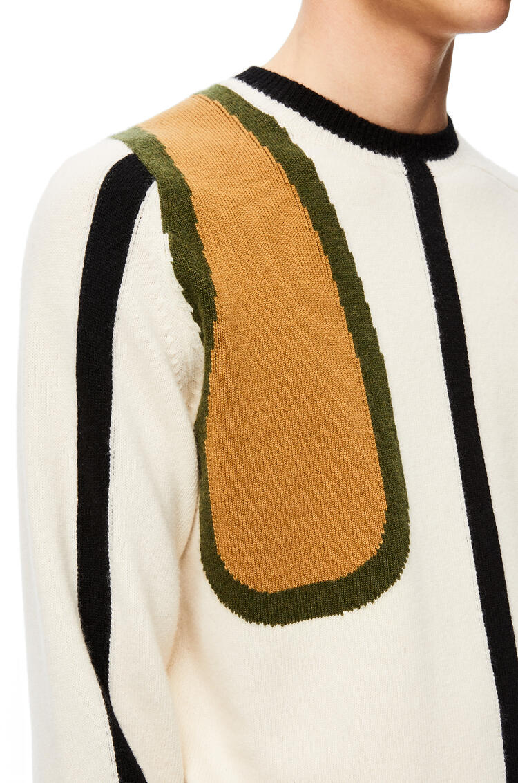 LOEWE Scarf sweater in wool and cashmere Ecru/Camel pdp_rd