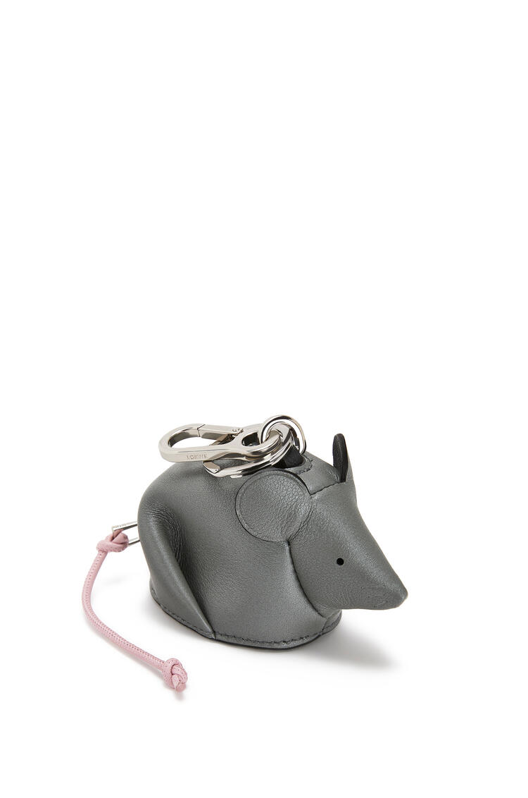 LOEWE Mouse charm in pearlized calfskin Gunmetal/Candy pdp_rd