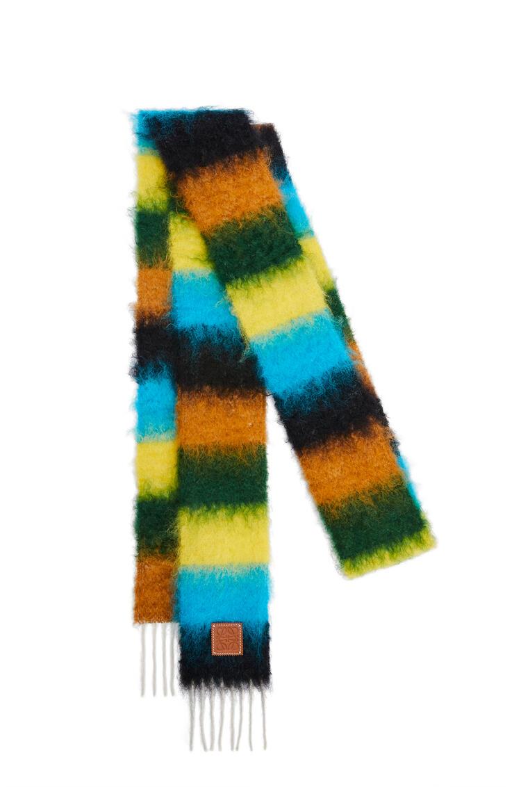 LOEWE Stripe scarf in mohair Black/Ocean Blue pdp_rd