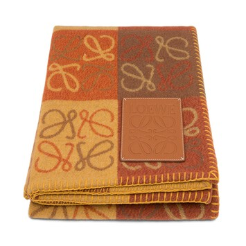 LOEWE 135X170 Anagram Blanket Orange Multitone/Tan front
