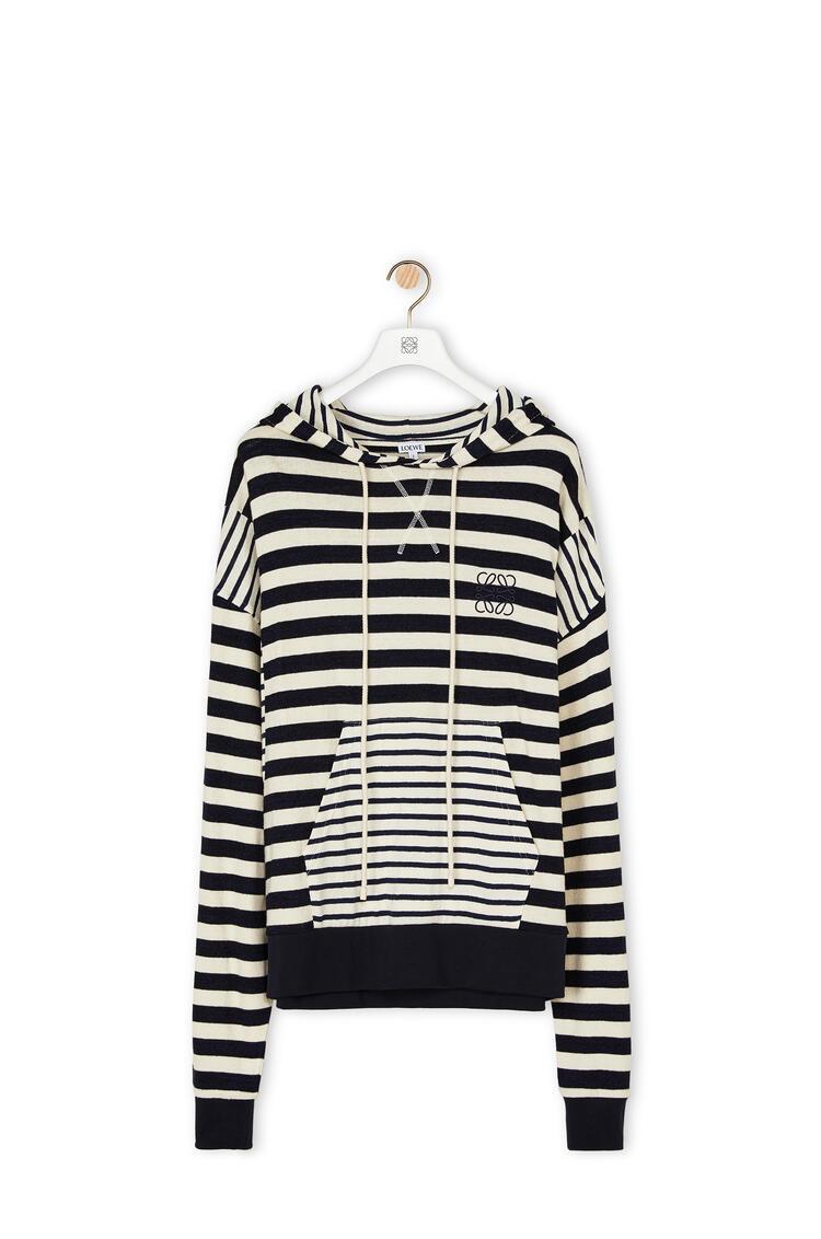 LOEWE Hoodie in striped cotton Ecru/Navy Blue pdp_rd