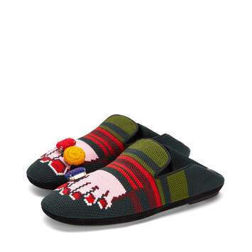 LOEWE Foot Slipper Dark Green/Pink front