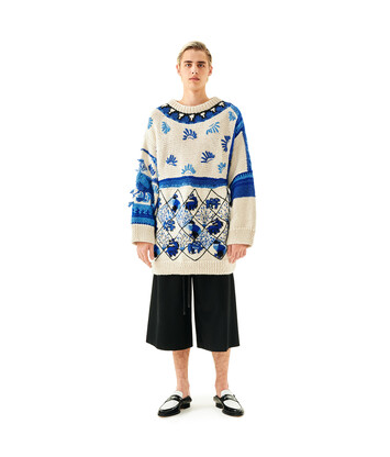 LOEWE Embroidered Sweater Animals White/Blue front