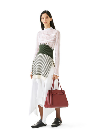 LOEWE Knit & Organdy Top White/Green front
