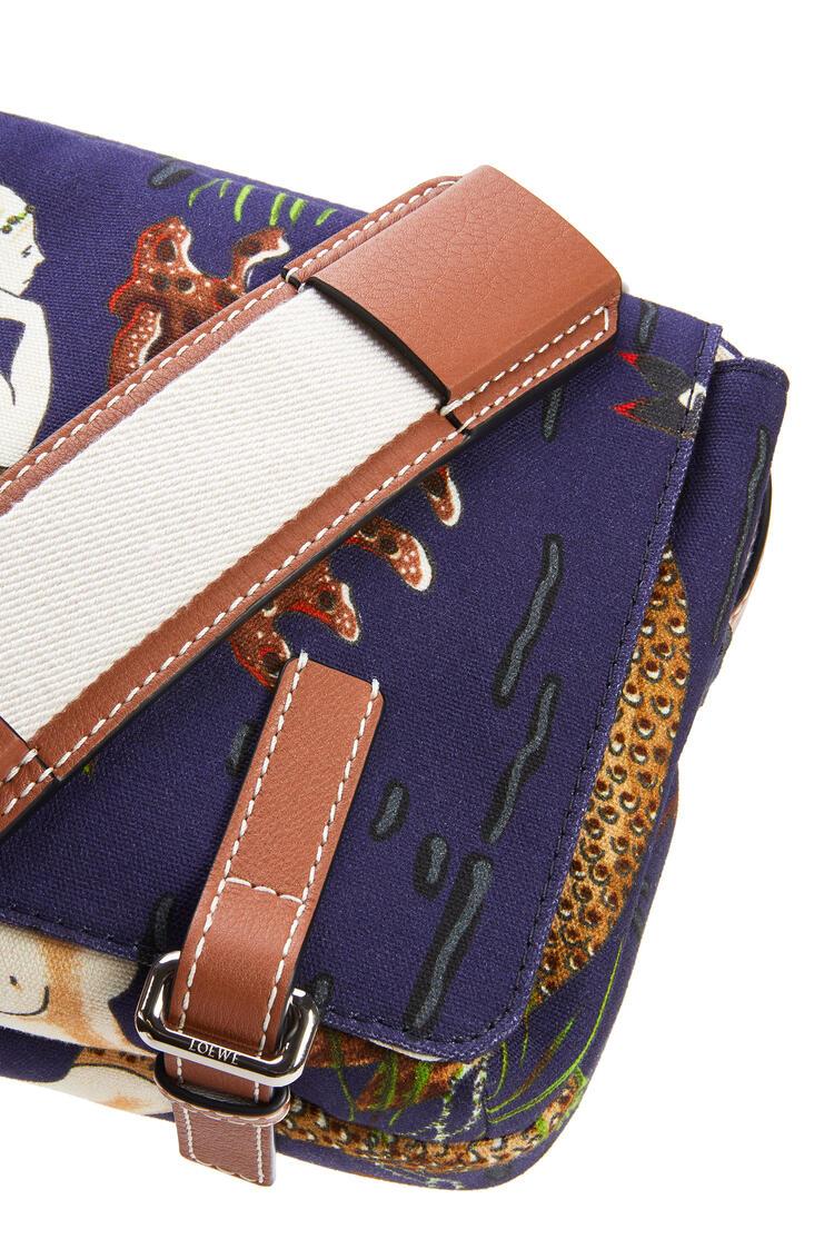 LOEWE XS Military Messenger bag in printed canvas and calfskin Marine pdp_rd