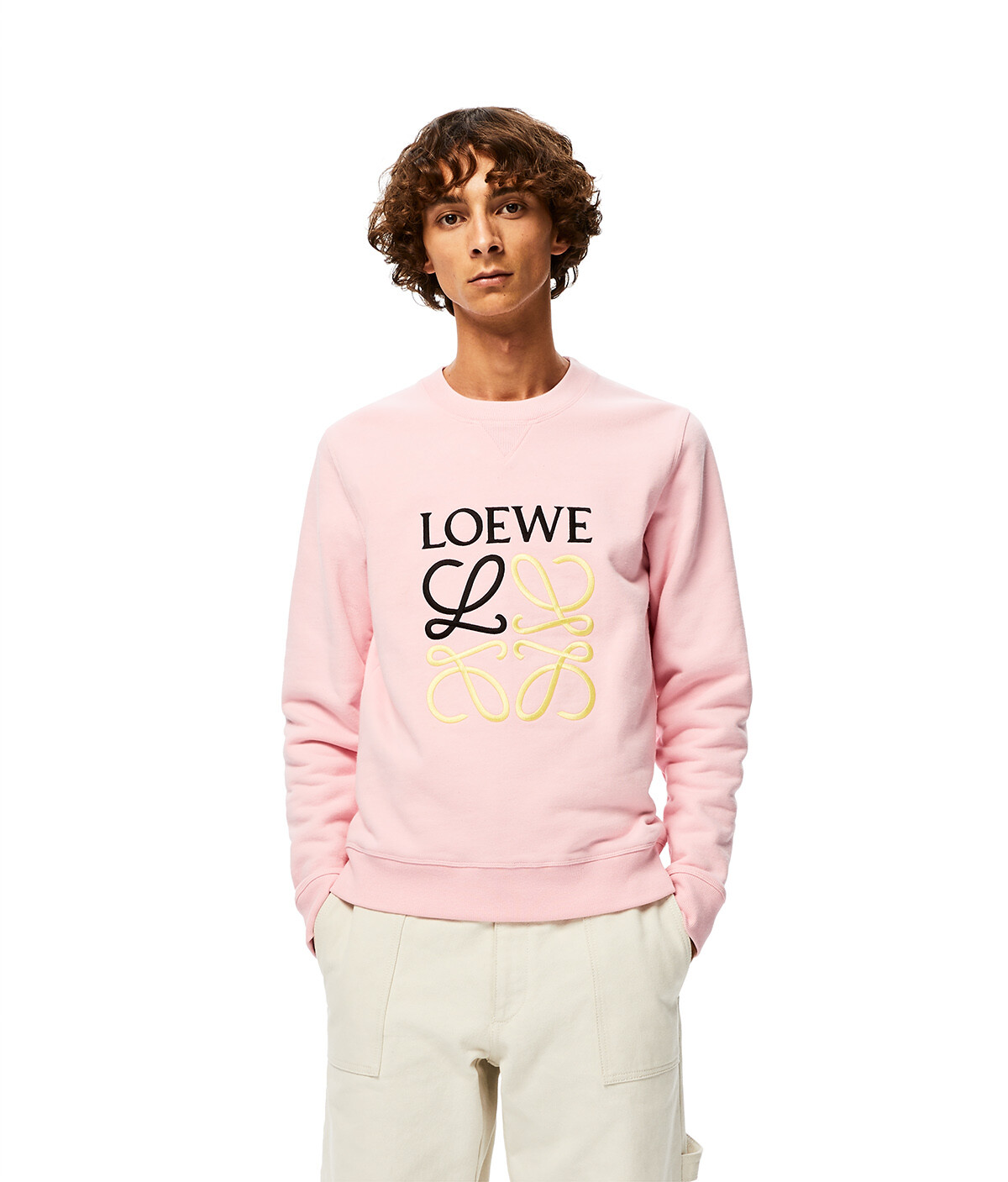 LOEWE Anagram Sweatshirt Baby Pink front