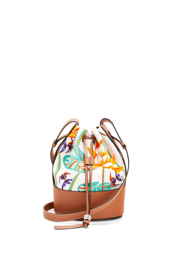 LOEWE Small Balloon Bag In Waterlily Canvas And Calfskin White/Tan pdp_rd