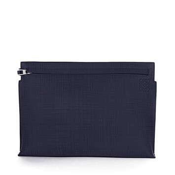 LOEWE T Pouch Linen Navy Blue front