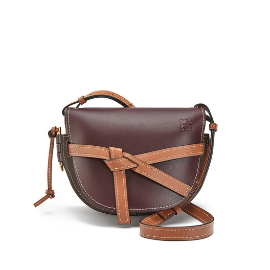 LOEWE Gate Small Bag Oxblood/Taupe front
