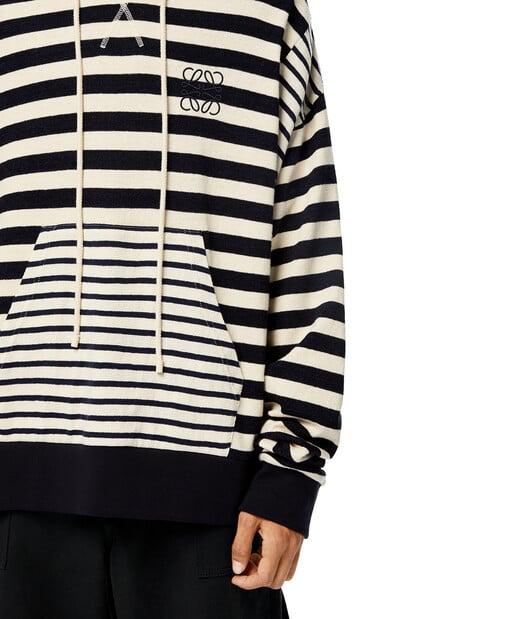 LOEWE Stripe Hoodie 亞麻色/海軍藍 front