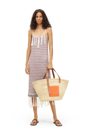 LOEWE Paula Stripe Dress Fringes Blanco/Rojo/Marino front