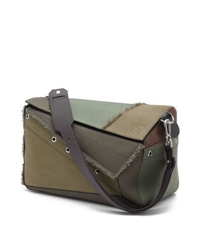 LOEWE Puzzle Xl Bag Khaki Green Multitone front