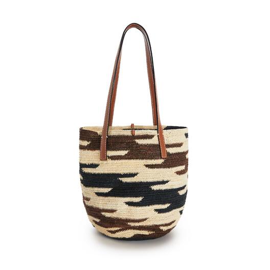 LOEWE シグラ バスケットバッグ (リュウゼツラン&カーフスキン) Natural/Black/Pecan front