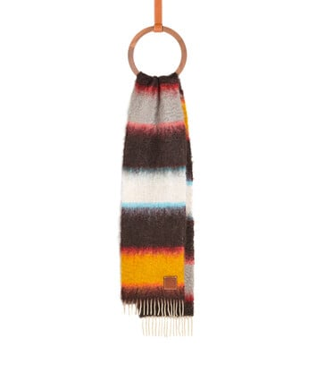 LOEWE 23X185 Mohair Scarf Stripes マルチカラー front