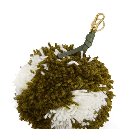 LOEWE Pompon Charm Big Khaki Green/Soft White front