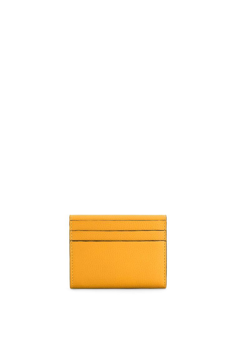 LOEWE Anagram square coin cardholder in pebble grain calfskin Yellow Mango pdp_rd