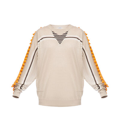 LOEWE Sweater Pompons Beige/Orange front