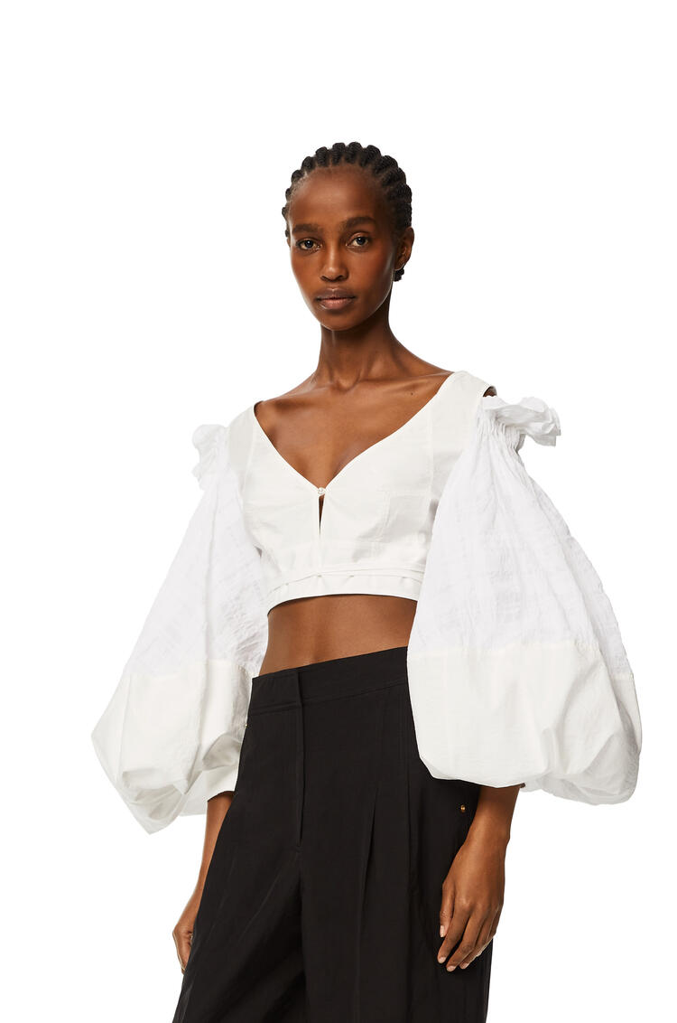 LOEWE Top en algodón con manga globo Blanco pdp_rd