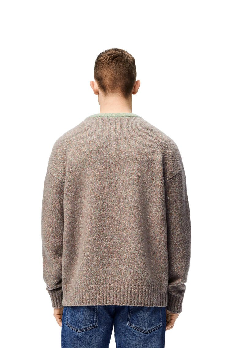 LOEWE Crewneck sweater in cotton and wool Green/Pink pdp_rd