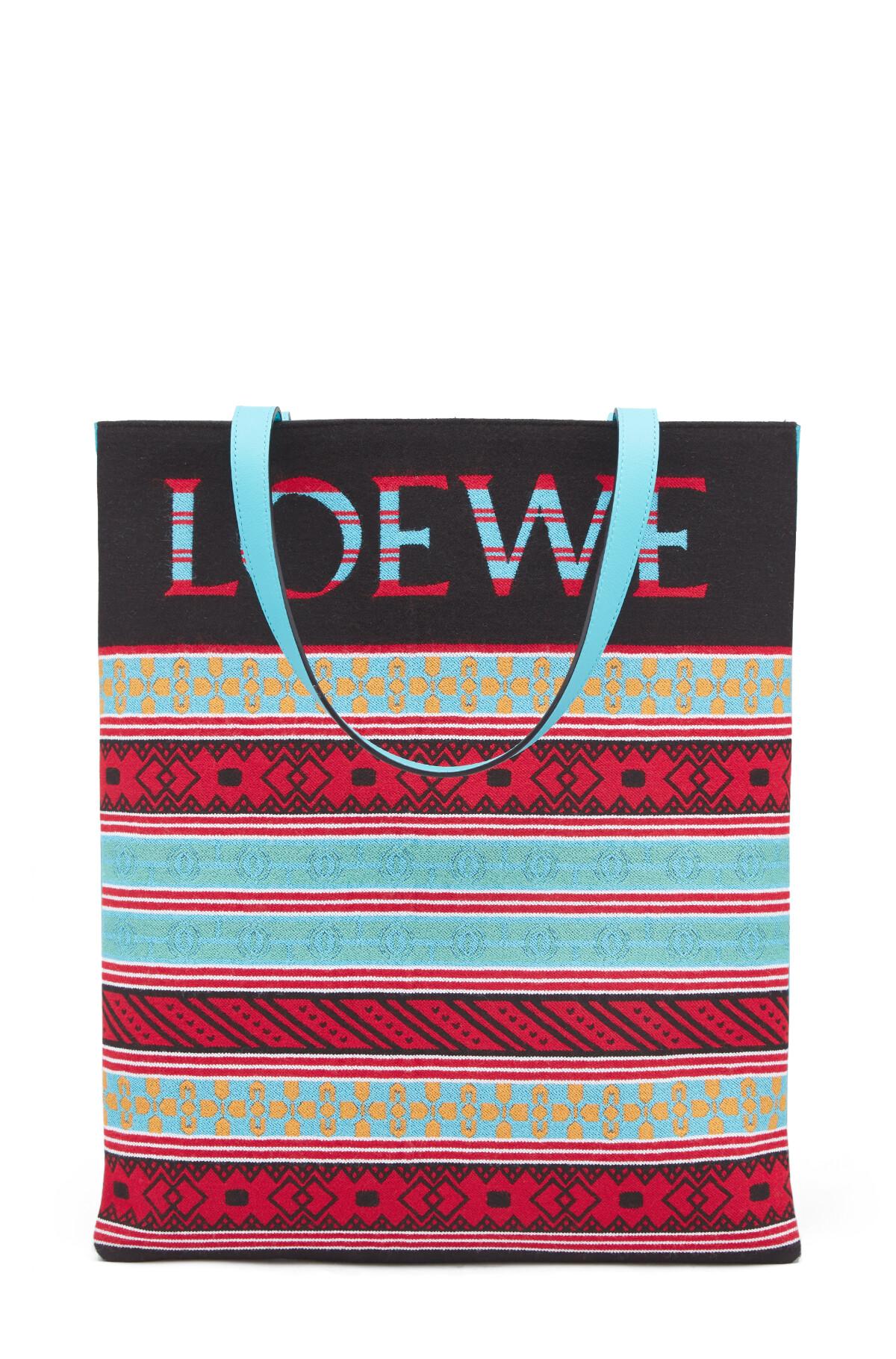 LOEWE Vertical Tote Knit Bag Multicolor front
