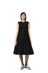 LOEWE Pleated midi dress in cotton Black pdp_rd
