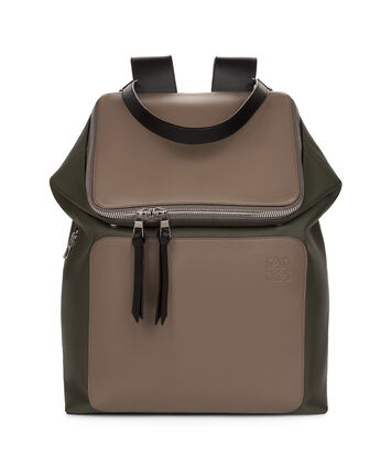 LOEWE Goya Backpack Dark Taupe/Military Green/Bl front