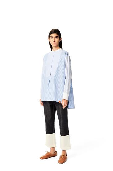 LOEWE Top tipo túnica en algodón de rayas Blanco/Azul pdp_rd