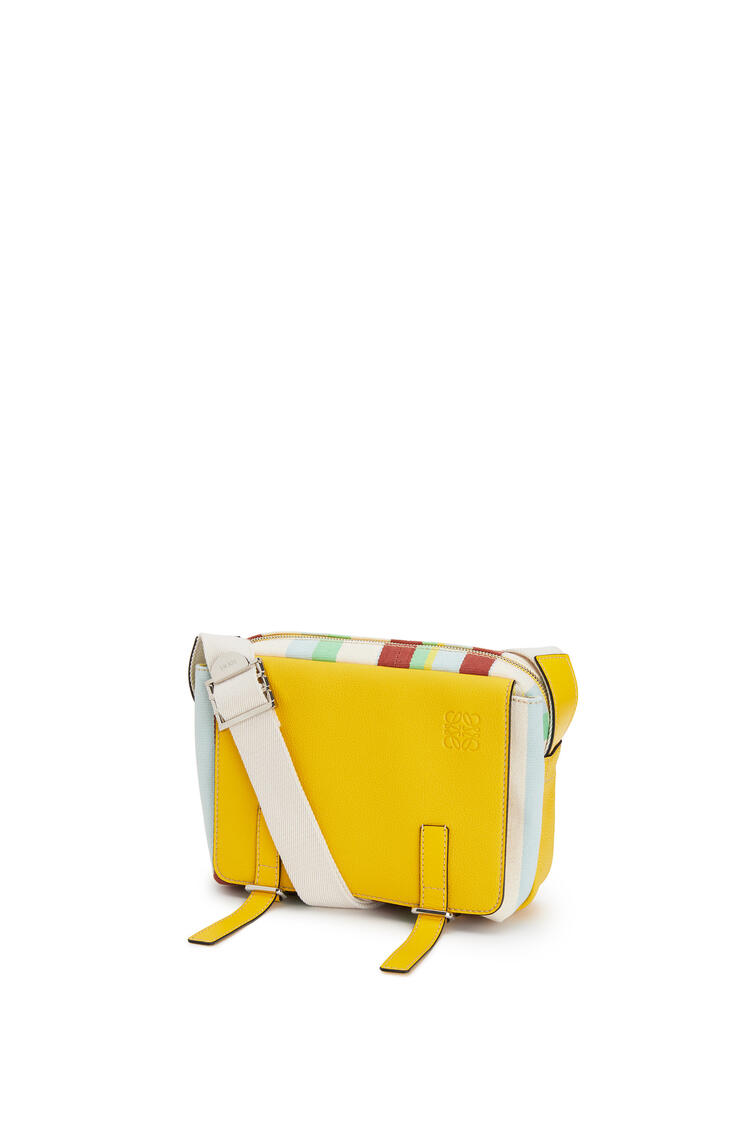 LOEWE XS Military Messenger bag in calfskin and printed canvas Yellow/Multicolour pdp_rd
