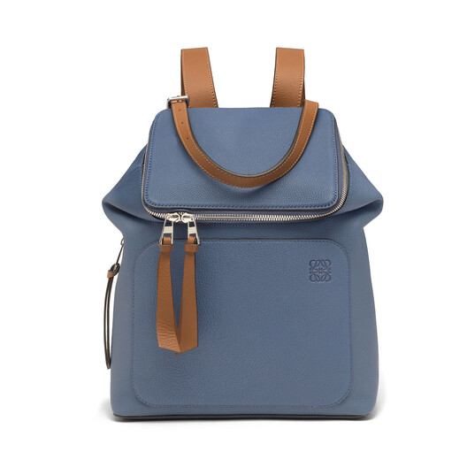 LOEWE Goya Small Backpack Varsity Blue/Tan front