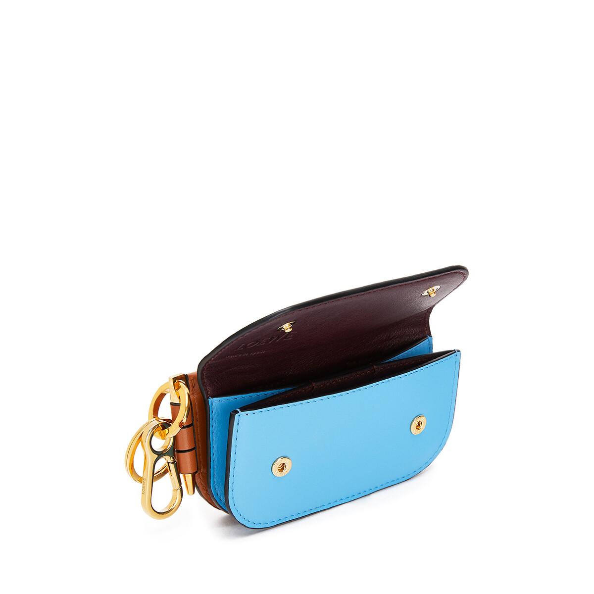 LOEWE Gate Mini Wallet Tan/Sky Blue front