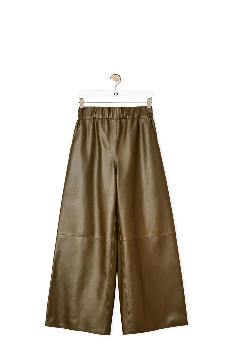 LOEWE Cropped elasticated waist trousers in nappa Khaki Green pdp_rd