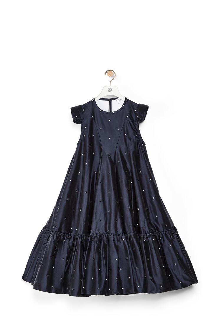 LOEWE Pearls embroidery A line mini dress in silk Deep Sea Blue pdp_rd