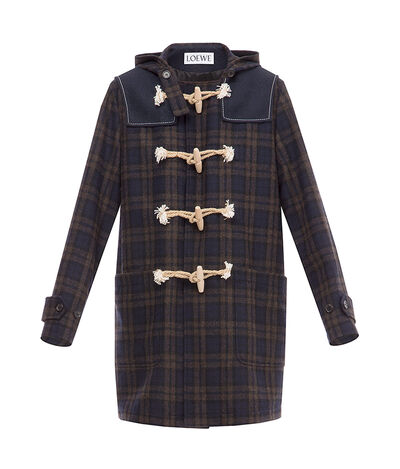 LOEWE Check Duffle Coat Navy Blue/Brown front