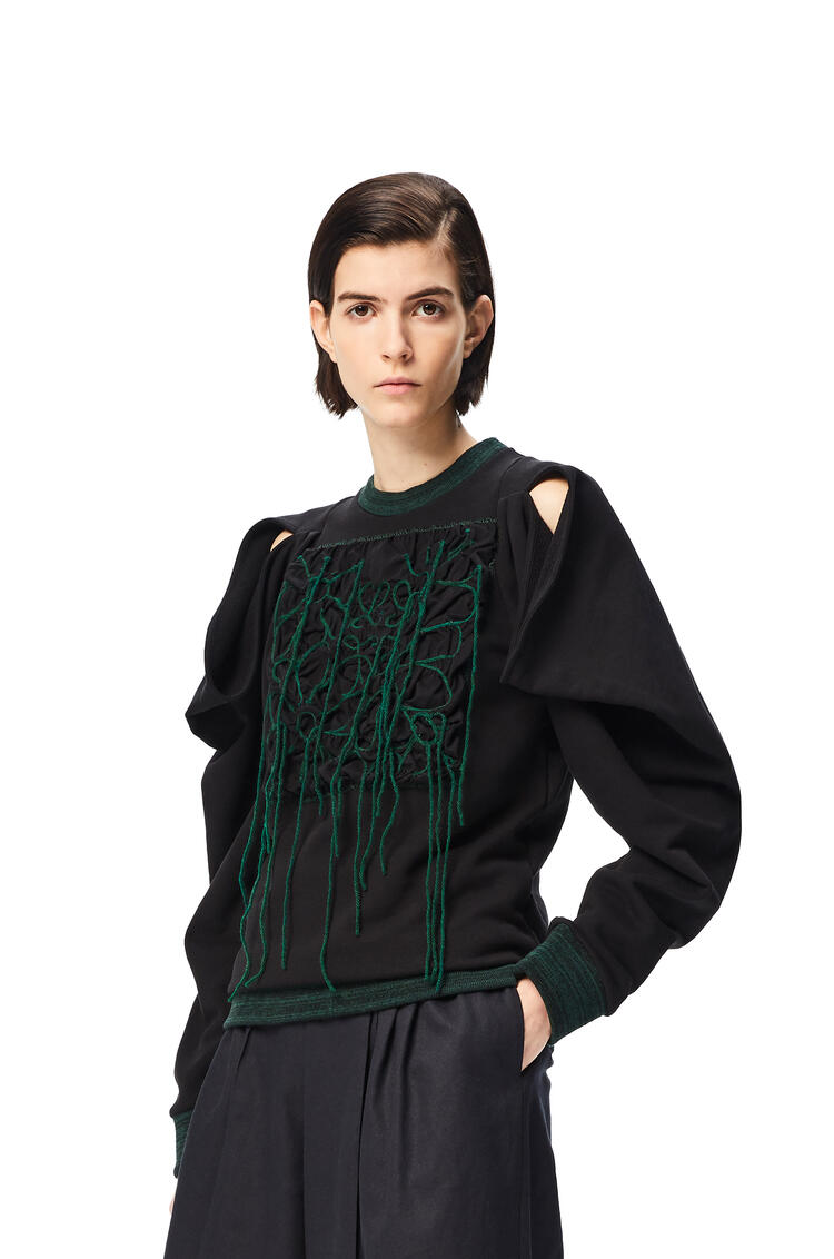 LOEWE Anagram stitched sweatshirt in cotton Green/Black pdp_rd