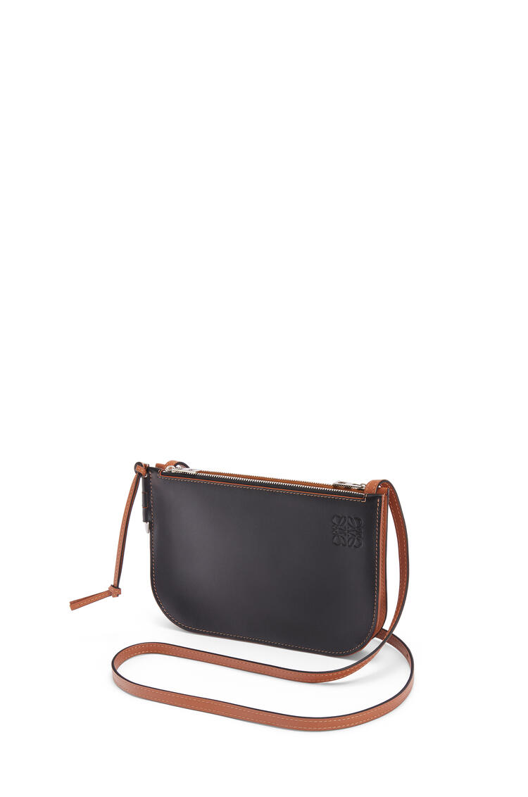 LOEWE Gate double zip pouch in soft calfskin Black/Tan pdp_rd