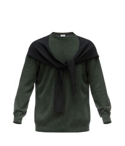 LOEWE Shoulder Sleeve Sweater Black/Kakhi Green front