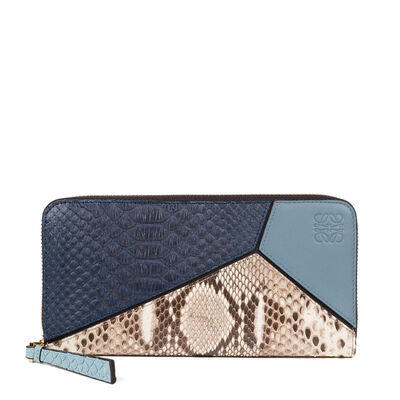 LOEWE Puzzle Zip Around Wallet Stone Blue/Multicolor front
