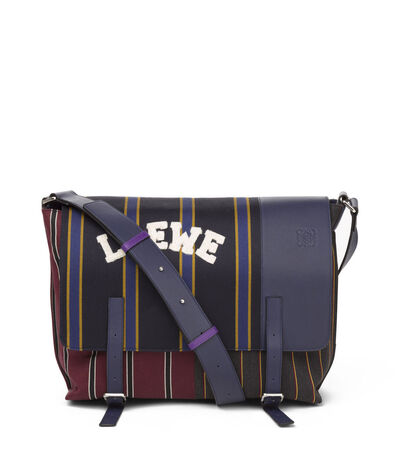 LOEWE Military Messenger Varsity Bag Multicolor/Marine front