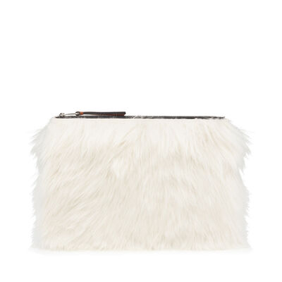 LOEWE Medium Flat Pouch Natural/Black front