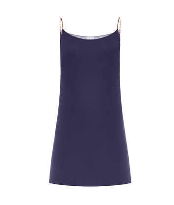 LOEWE Short Strappy Knit Dress Navy/Orange front