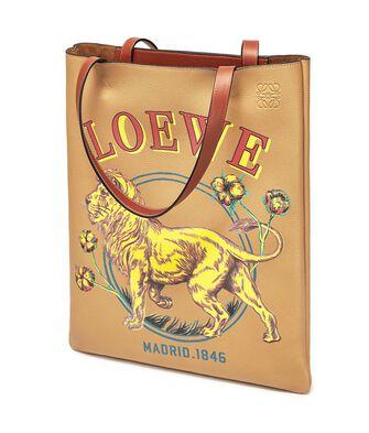 LOEWE Vertical Tote Lion Bag Desert front