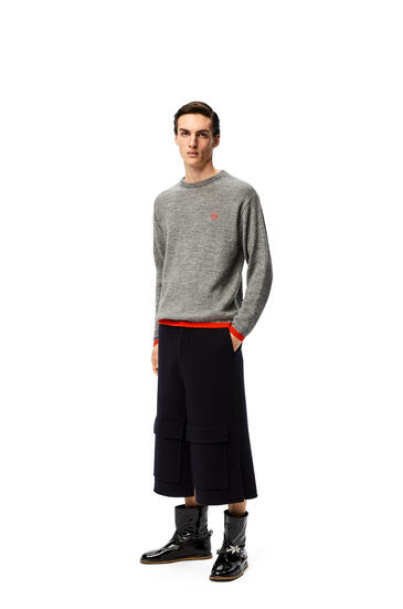 LOEWE Patch pocket shorts in wool and cashmere Navy Blue pdp_rd