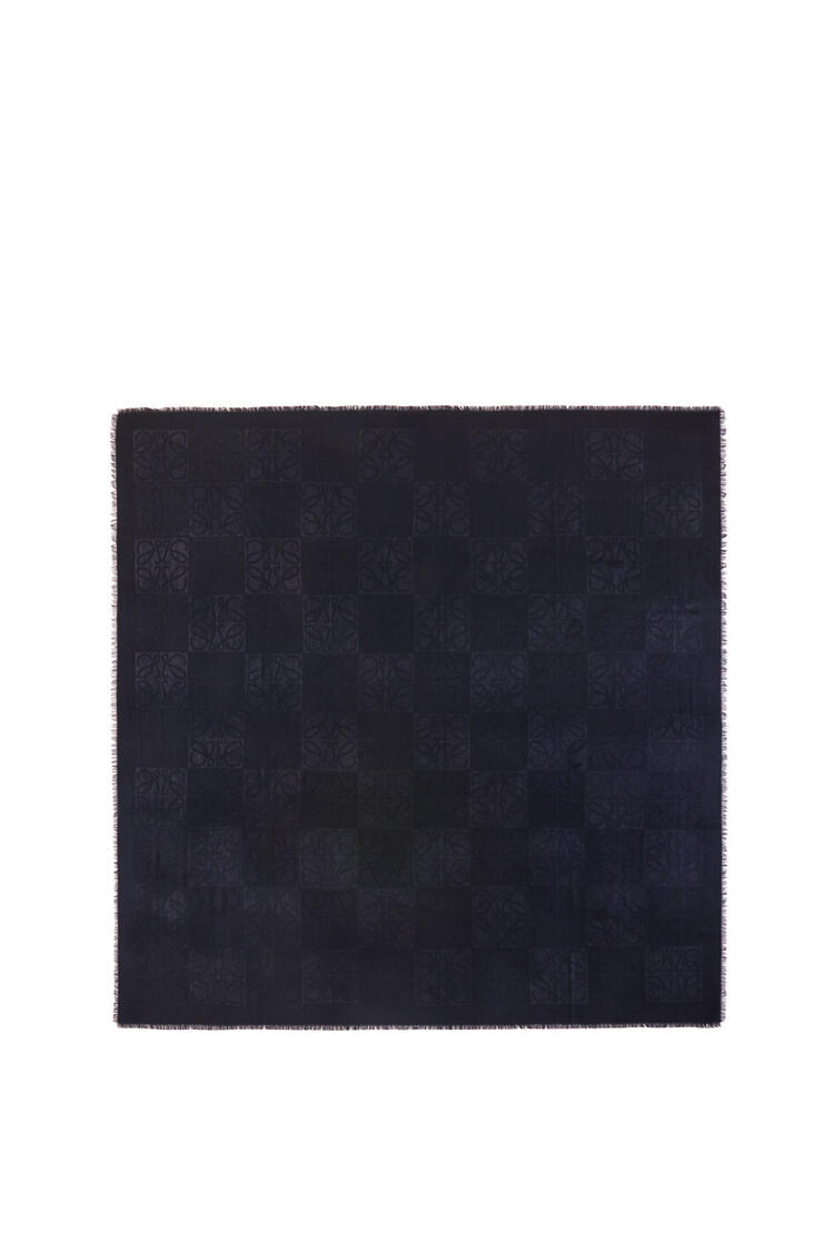 LOEWE Damero scarf in wool, silk and cashmere Dark Blue pdp_rd