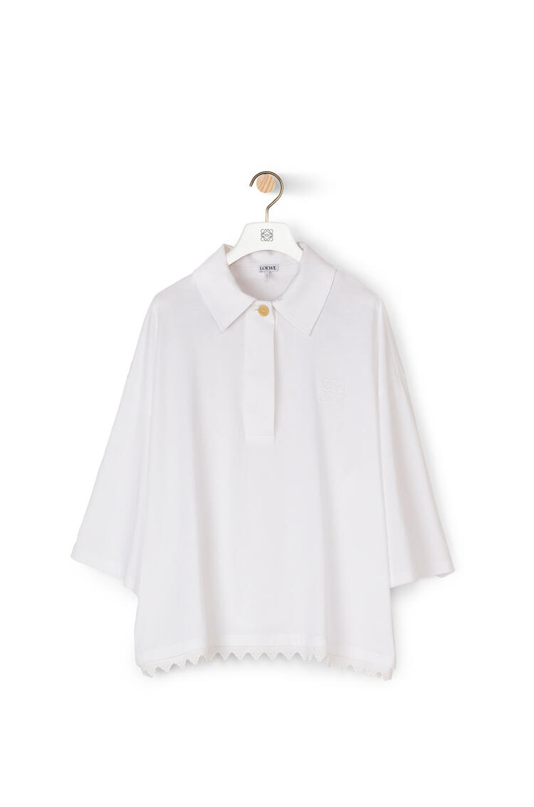 LOEWE Lace trim polo collar top in cotton White pdp_rd