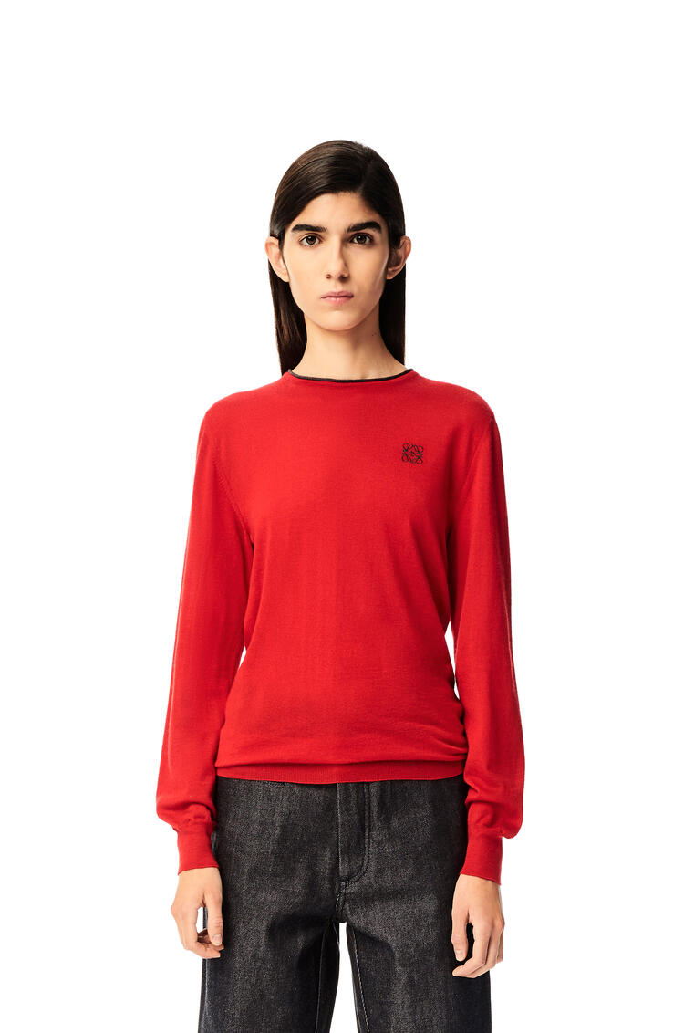 LOEWE Anagram embroidered crewneck sweater in cashmere Red Earth pdp_rd