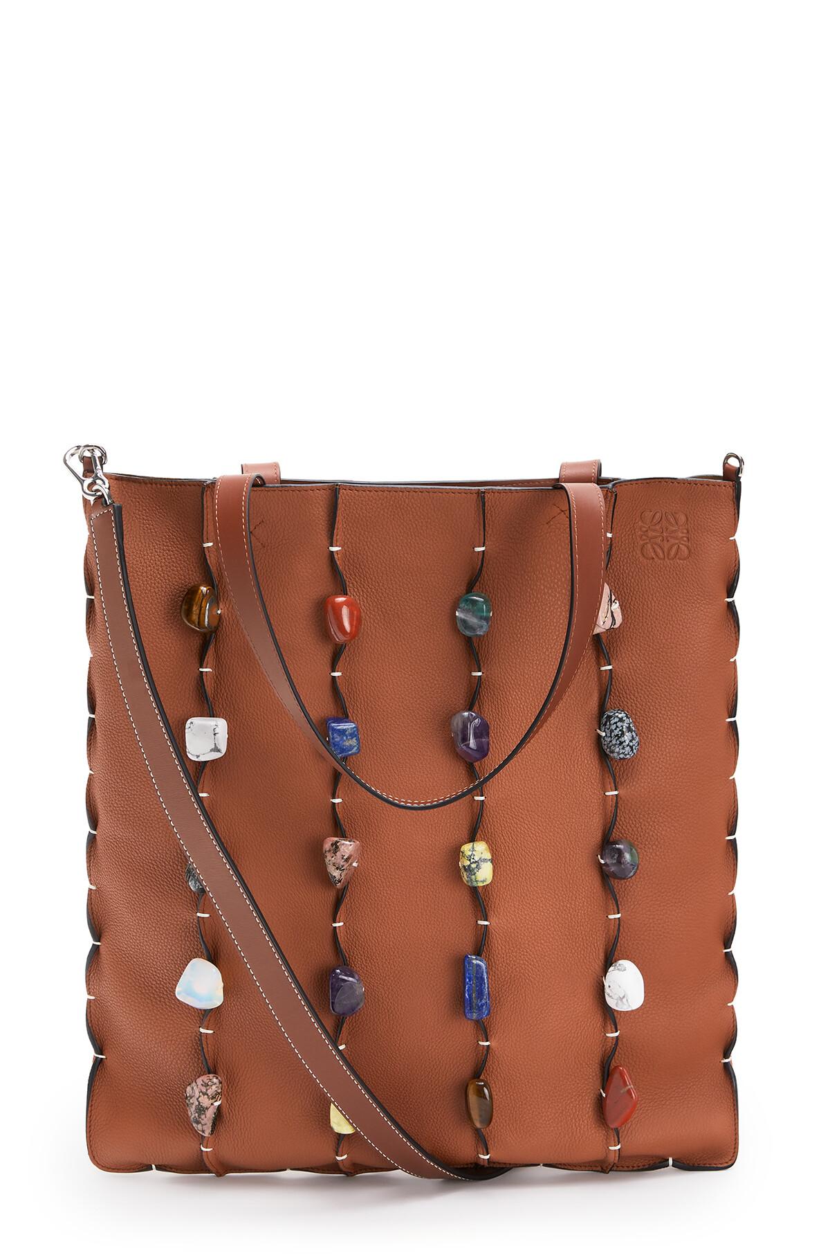 LOEWE Vertical Tote Stones Bag Tan front